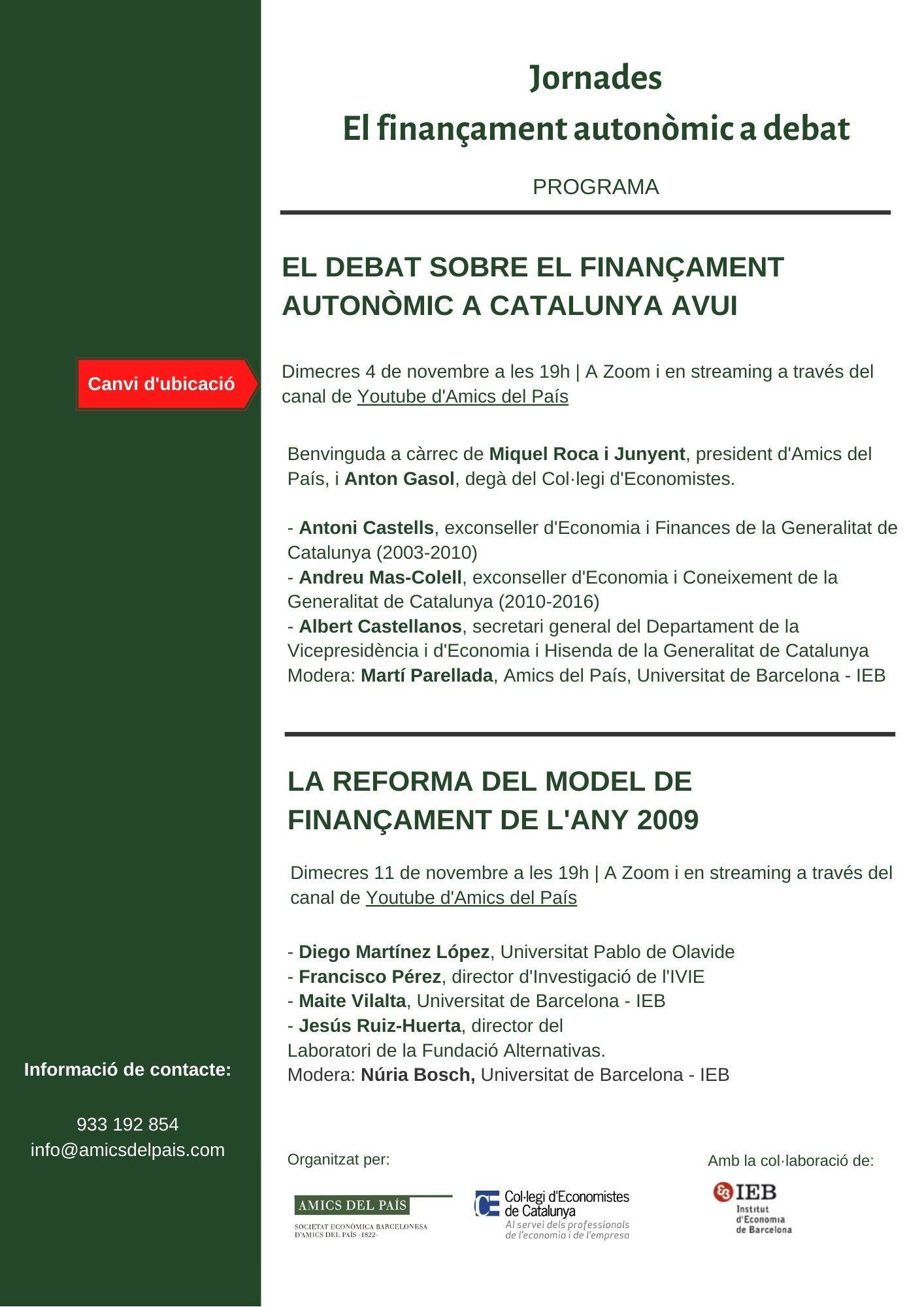 Programa Jornades sobre el model de finançament autonòmic